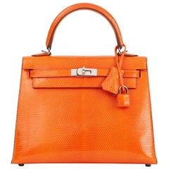 2006 Hermès Tangerine Shiny Niloticus Lizard Leather Kelly 25cm Sellier