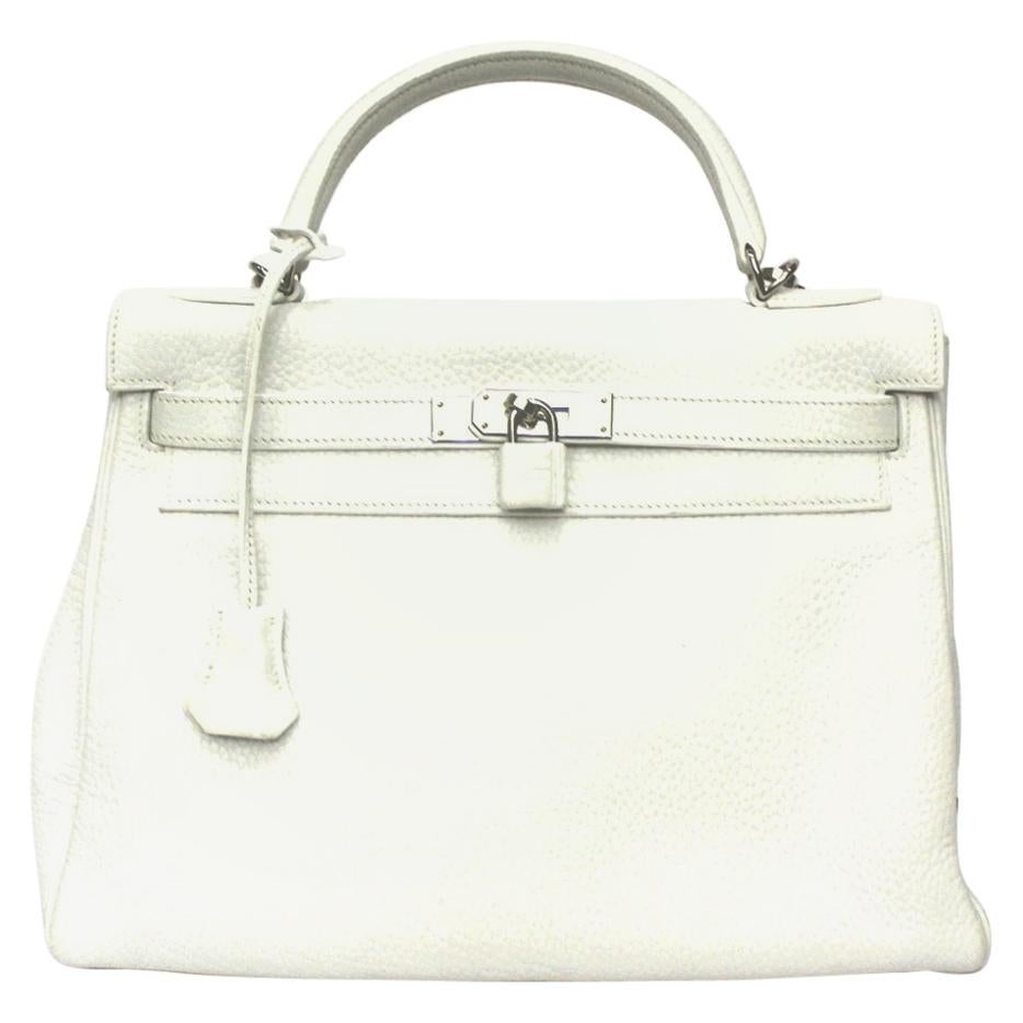 2006 Hermès White Leather Kelly 32 Bag