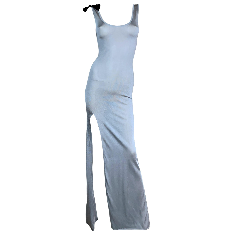 F/W 2006 John Galliano Sheer Silver Knit Bodycon High Slit Maxi Dress
