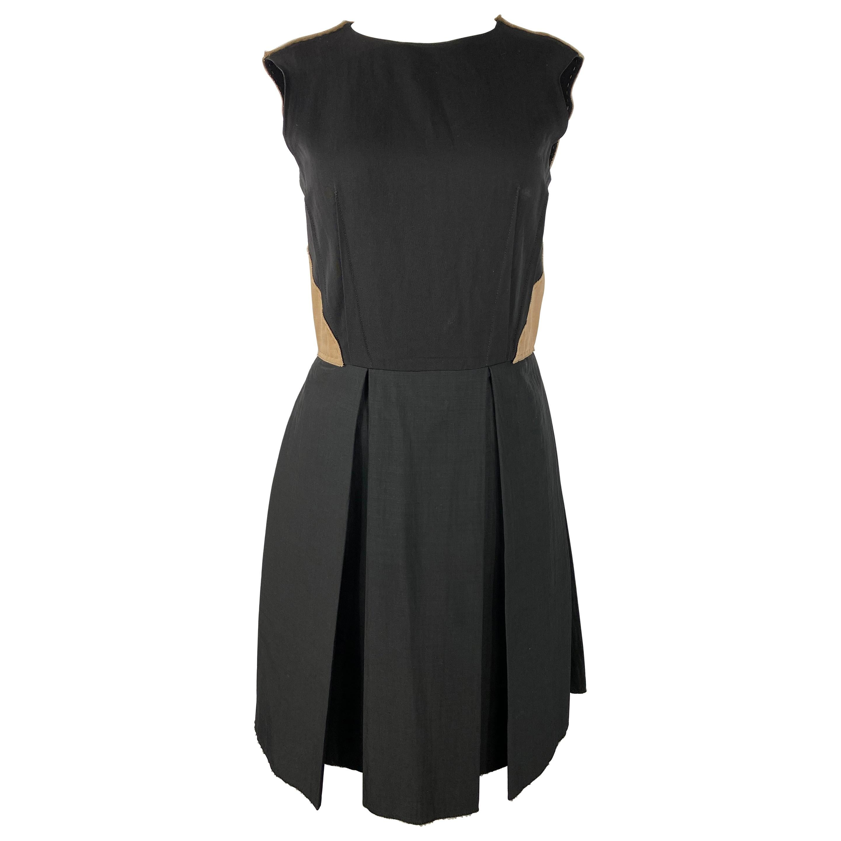 2006 LANVIN Black and Brown Mini Dress, Size 36