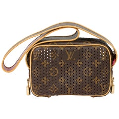 2006 Louis Vuitton Brown Perforated Monogram Canvas, Fuschia Mini Trocadero
