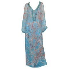 2006 Resort Oscar de la Renta Chiffon Caftan Embellished Dress