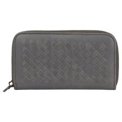 2007 Bottega Veneta Grey Woven Lambskin Leather Zip Around Wallet