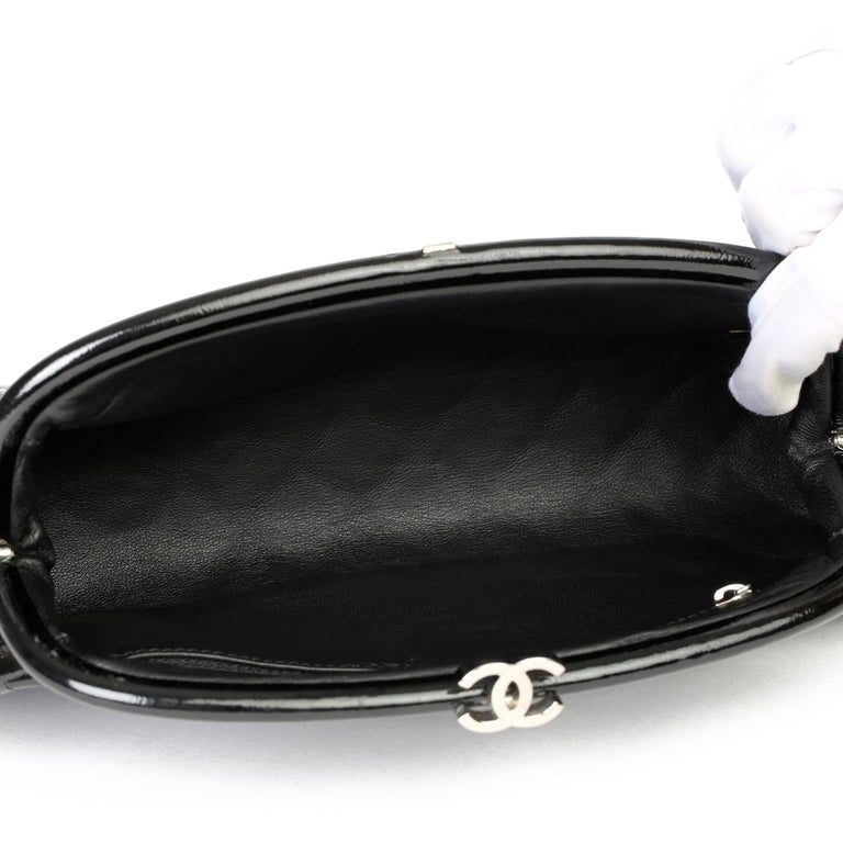 2007 Chanel Black Quilted Aged Patent Leather Timeless Clutch For Sale 6