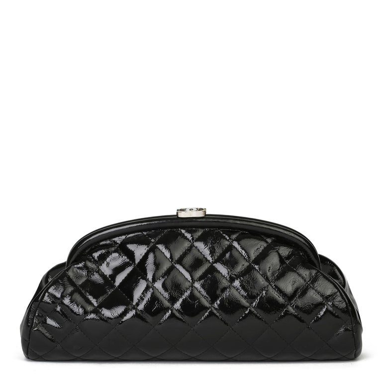 2007 Chanel Black Quilted Aged Patent Leather Timeless Clutch For Sale 1