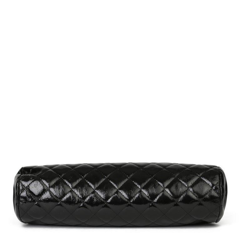 2007 Chanel Black Quilted Aged Patent Leather Timeless Clutch For Sale 2