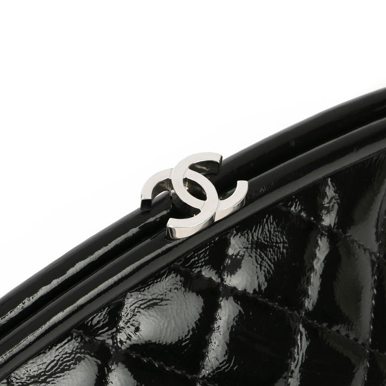 2007 Chanel Black Quilted Aged Patent Leather Timeless Clutch For Sale 3