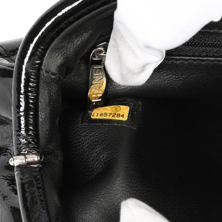 2007 Chanel Black Quilted Aged Patent Leather Timeless Clutch For Sale 5