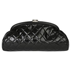 2007 Chanel Black Quilted Aged Patent Leather Timeless Clutch