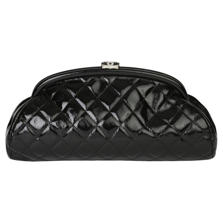 2007 Chanel Black Quilted Aged Patent Leather Timeless Clutch For Sale