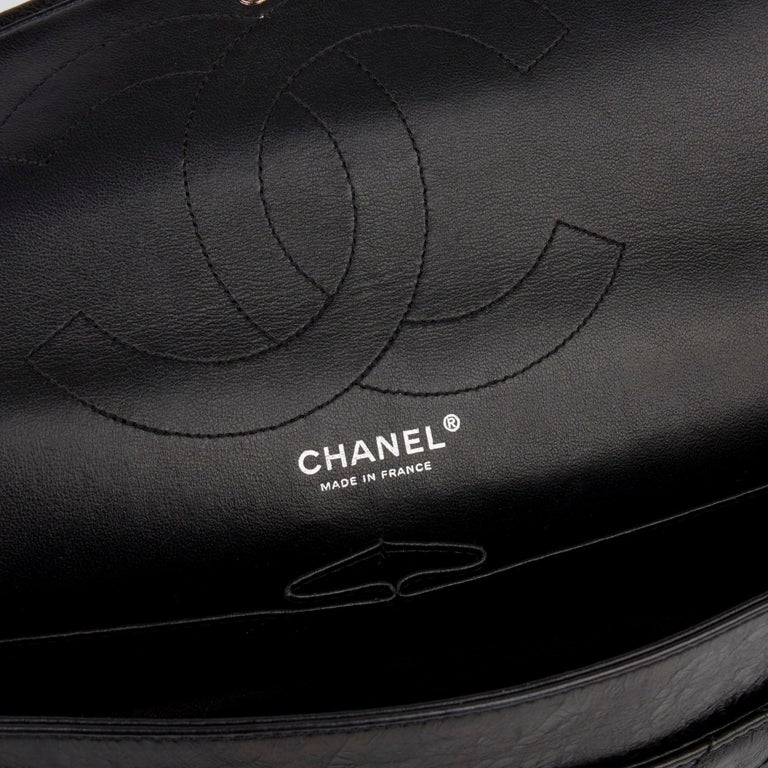2007 Chanel Black Quilted Metallic Aged Calfskin 2.55 Reissue Double Flap Bag For Sale 4