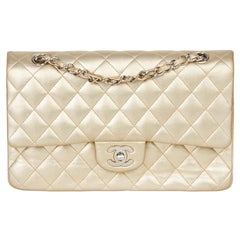 2007 Chanel Gold Quilted Metallic Lambskin Medium Classic Double Flap Bag