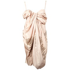2007 CHRISTIAN DIOR by JOHN GALLIANO draped silk runway dress with brass rings