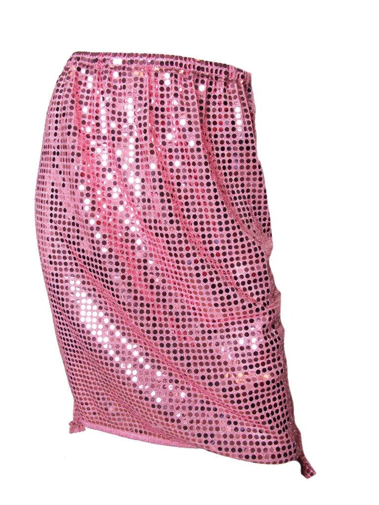 Pink 2007 Comme des Garcons pink sequin skirt elastic waist For Sale