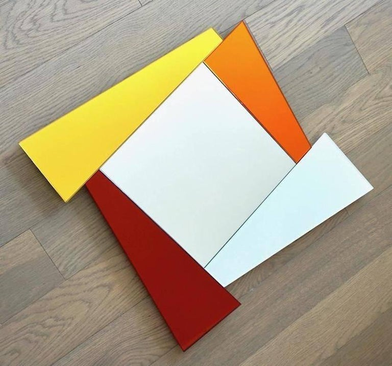 Post-Modern 2007 Ettore Sottsass Geometric Mirror in White Red Orange Yellow for Glas Italia For Sale