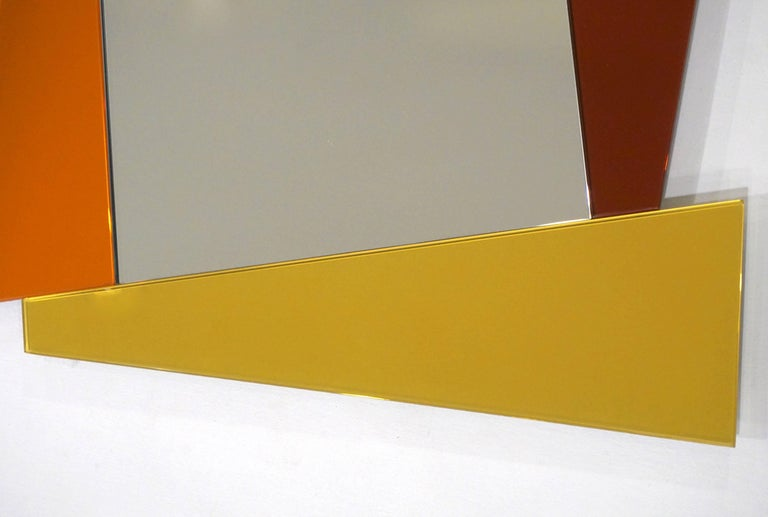 Contemporary 2007 Ettore Sottsass Geometric Mirror in White Red Orange Yellow for Glas Italia For Sale
