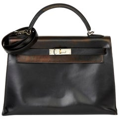 2007 Hermès Black Box Calf Leather Kelly 32cm