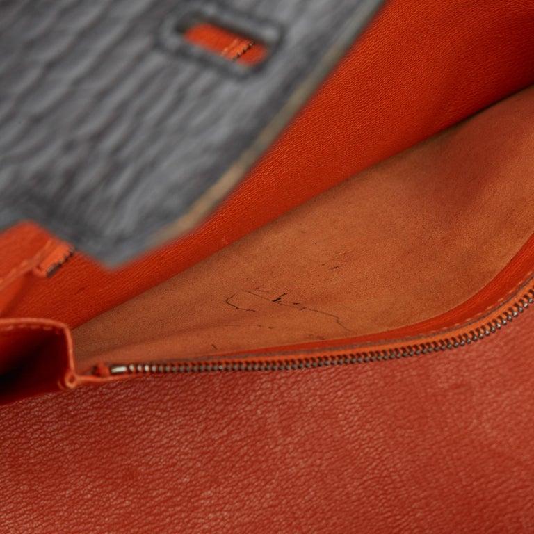 2007 Hermès Black & Orange H Shiny Porosus Crocodile Leather Birkin 35cm For Sale 6