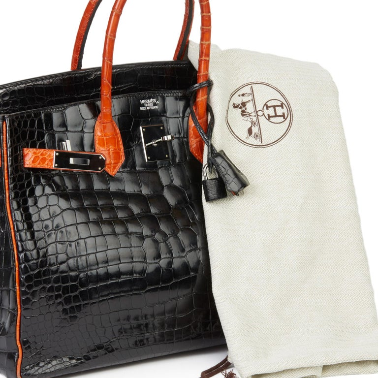 2007 Hermès Black & Orange H Shiny Porosus Crocodile Leather Birkin 35cm For Sale 7