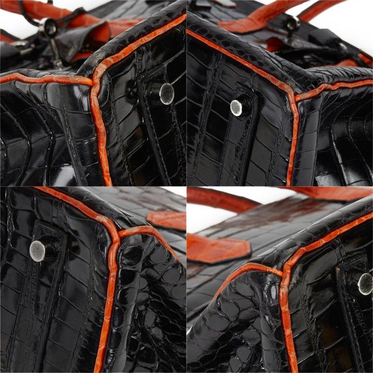 2007 Hermès Black & Orange H Shiny Porosus Crocodile Leather Birkin 35cm For Sale 8