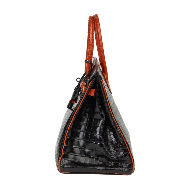 2007 Hermès Black & Orange H Shiny Porosus Crocodile Leather Birkin 35cm In Good Condition For Sale In Bishop's Stortford, Hertfordshire