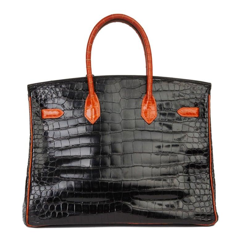 Women's 2007 Hermès Black & Orange H Shiny Porosus Crocodile Leather Birkin 35cm For Sale