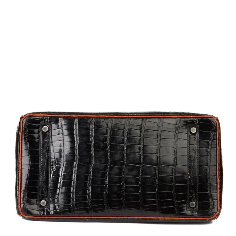 2007 Hermès Black & Orange H Shiny Porosus Crocodile Leather Birkin 35cm For Sale 1