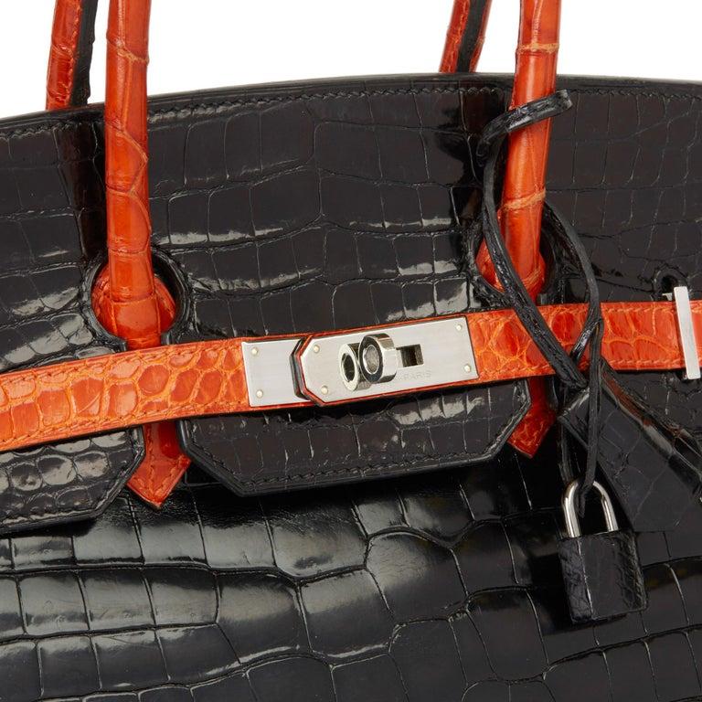 2007 Hermès Black & Orange H Shiny Porosus Crocodile Leather Birkin 35cm For Sale 2