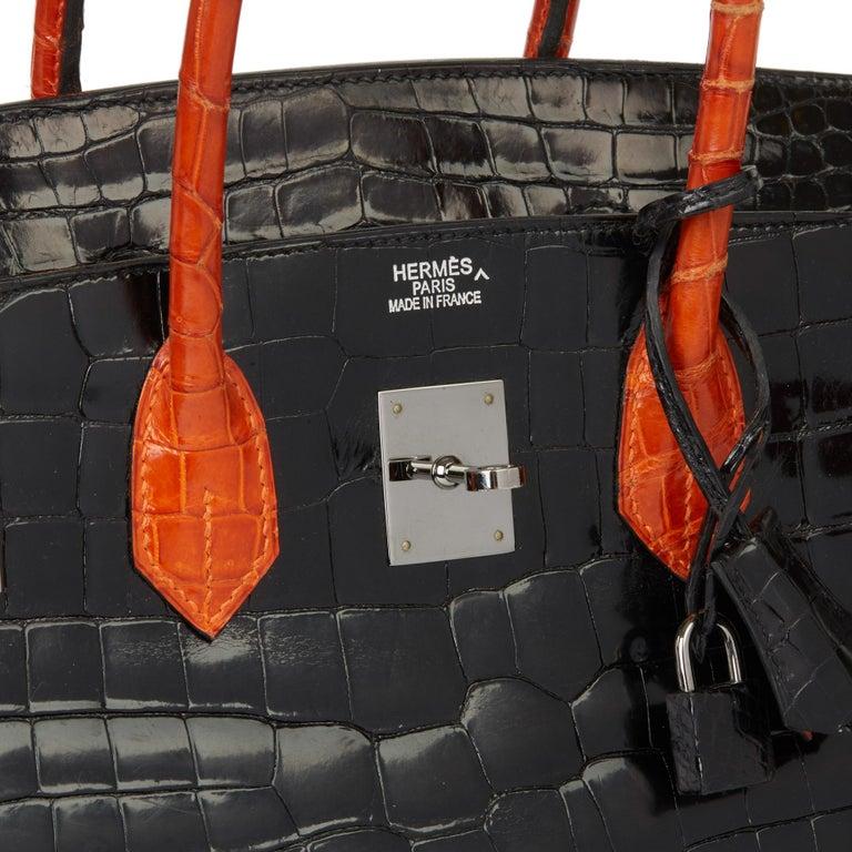 2007 Hermès Black & Orange H Shiny Porosus Crocodile Leather Birkin 35cm For Sale 3