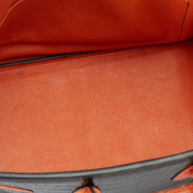 2007 Hermès Black & Orange H Shiny Porosus Crocodile Leather Birkin 35cm For Sale 5