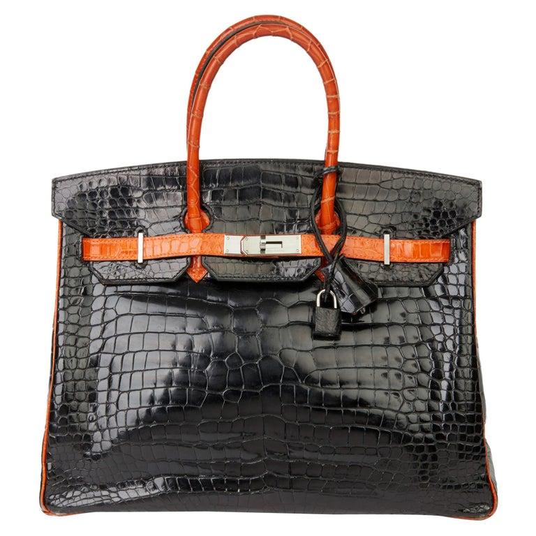 2007 Hermès Black & Orange H Shiny Porosus Crocodile Leather Birkin 35cm For Sale