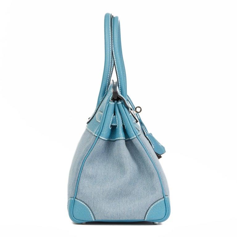 2007 Hermès Blue Jean Clemence Leather & Denim Birkin 30cm In Excellent Condition For Sale In Bishop's Stortford, Hertfordshire