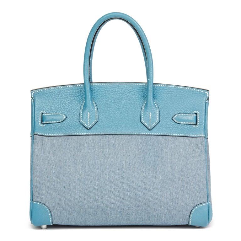 Women's 2007 Hermès Blue Jean Clemence Leather & Denim Birkin 30cm For Sale