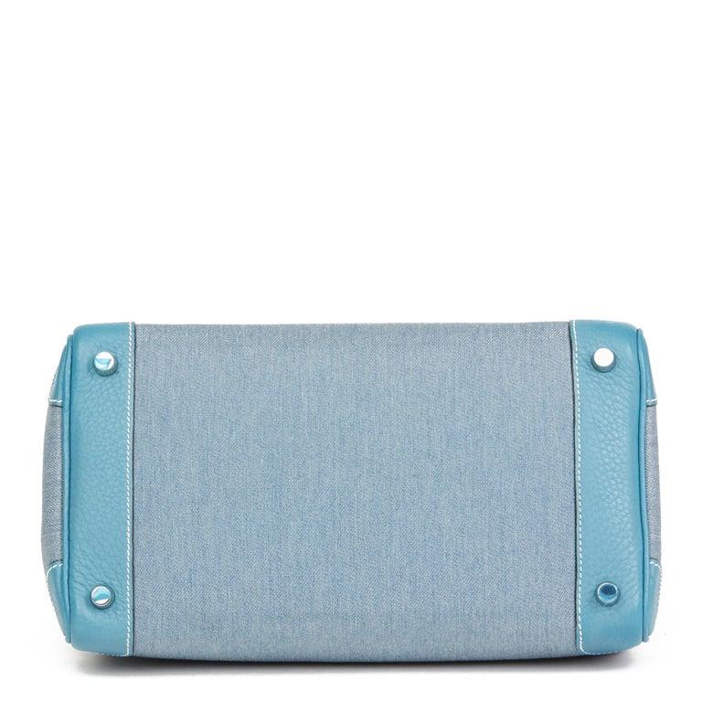 2007 Hermès Blue Jean Clemence Leather & Denim Birkin 30cm For Sale 1