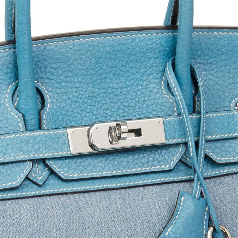 2007 Hermès Blue Jean Clemence Leather & Denim Birkin 30cm For Sale 2