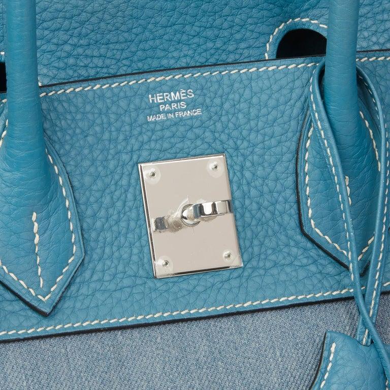 2007 Hermès Blue Jean Clemence Leather & Denim Birkin 30cm For Sale 3