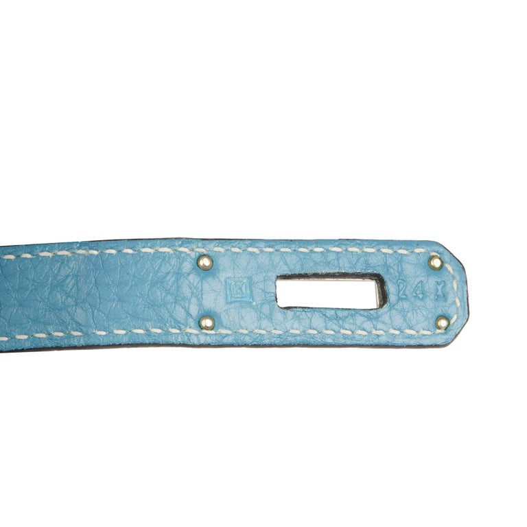 2007 Hermès Blue Jean Clemence Leather & Denim Birkin 30cm For Sale 4
