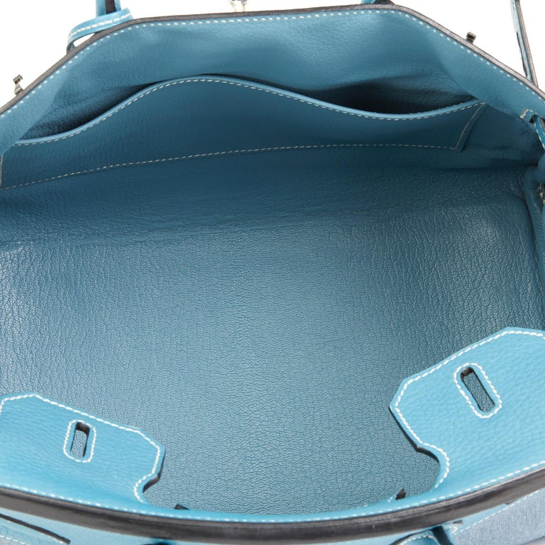 2007 Hermès Blue Jean Clemence Leather & Denim Birkin 30cm For Sale 5