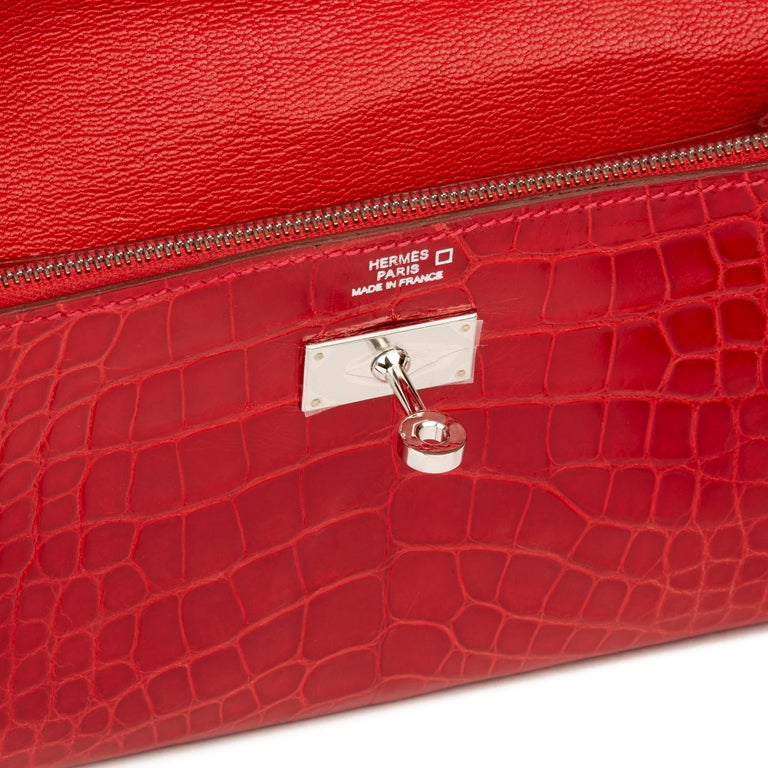 2007 Hermès Braise Matte Mississippiensis Alligator Leather Kelly Long Wallet For Sale 6