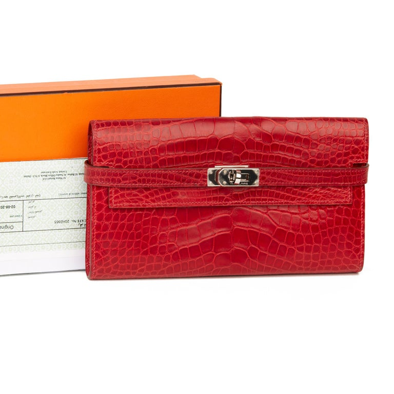 2007 Hermès Braise Matte Mississippiensis Alligator Leather Kelly Long Wallet For Sale 9