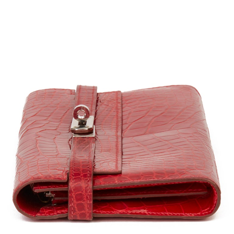 2007 Hermès Braise Matte Mississippiensis Alligator Leather Kelly Long Wallet In Good Condition For Sale In Bishop's Stortford, Hertfordshire