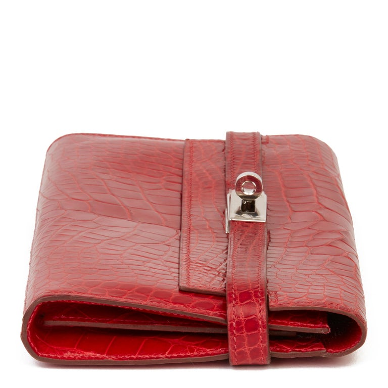 Women's 2007 Hermès Braise Matte Mississippiensis Alligator Leather Kelly Long Wallet For Sale