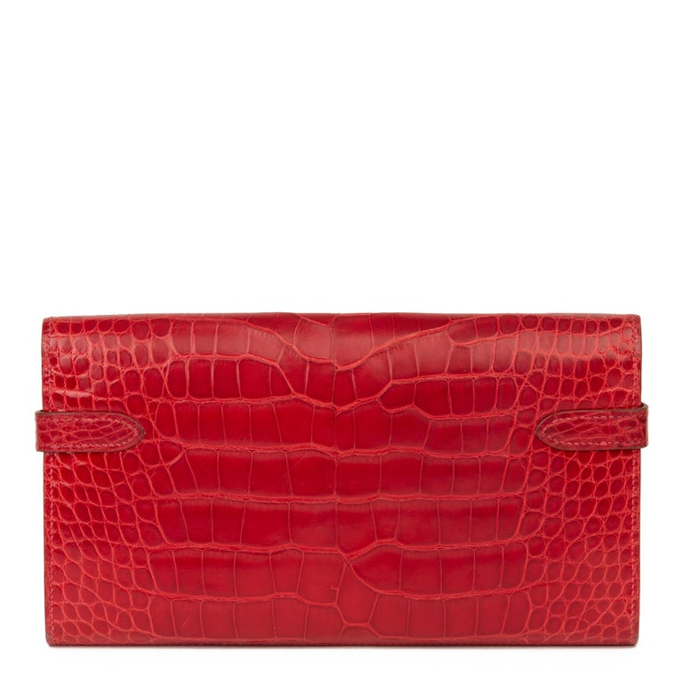 2007 Hermès Braise Matte Mississippiensis Alligator Leather Kelly Long Wallet For Sale 1