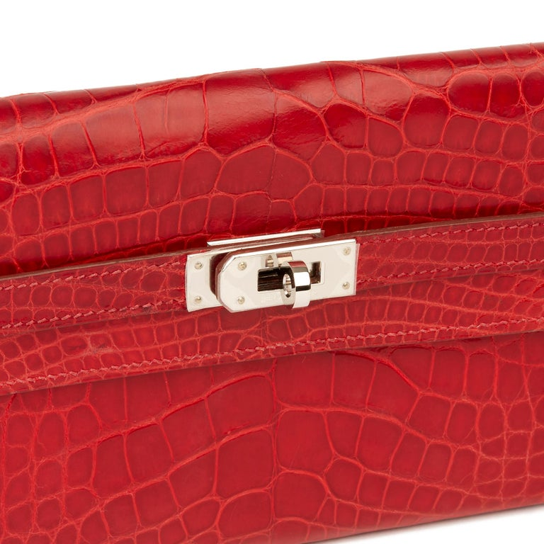 2007 Hermès Braise Matte Mississippiensis Alligator Leather Kelly Long Wallet For Sale 3