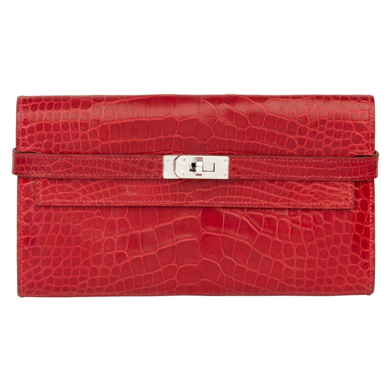 2007 Hermès Braise Matte Mississippiensis Alligator Leather Kelly Long Wallet For Sale