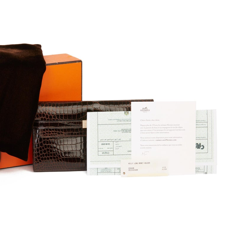 2007 Hermès Cocaon Shiny Porosus Crocodile Leather Diamond Kelly Long Wallet For Sale 7