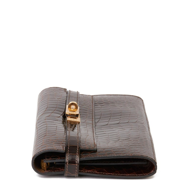 2007 Hermès Cocaon Shiny Porosus Crocodile Leather Diamond Kelly Long Wallet In Excellent Condition For Sale In Bishop's Stortford, Hertfordshire