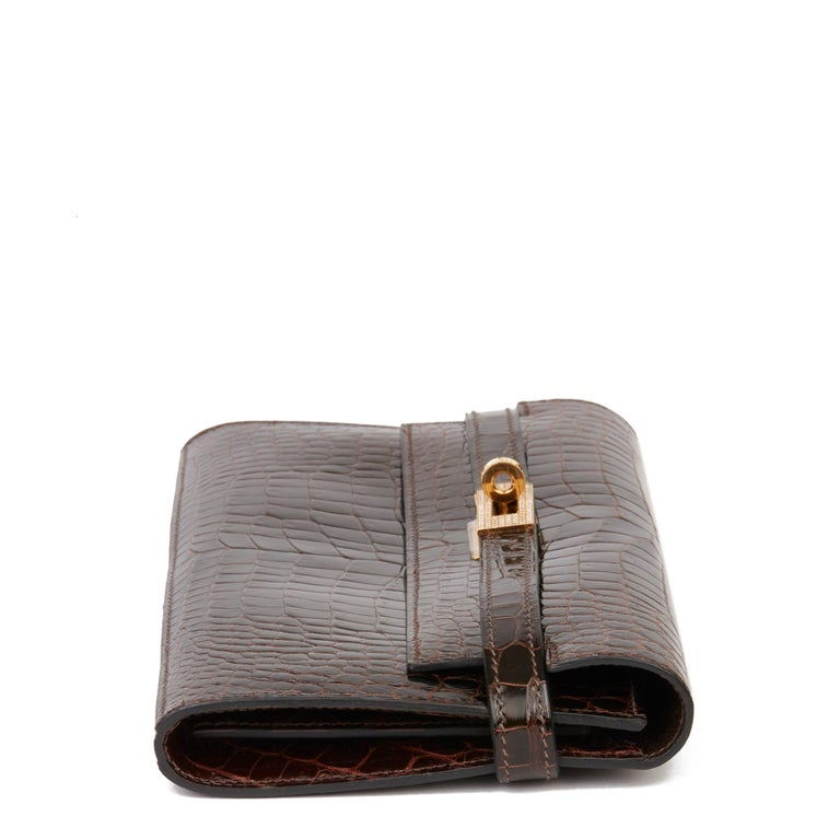 Women's 2007 Hermès Cocaon Shiny Porosus Crocodile Leather Diamond Kelly Long Wallet For Sale