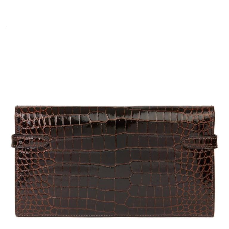 2007 Hermès Cocaon Shiny Porosus Crocodile Leather Diamond Kelly Long Wallet For Sale 1