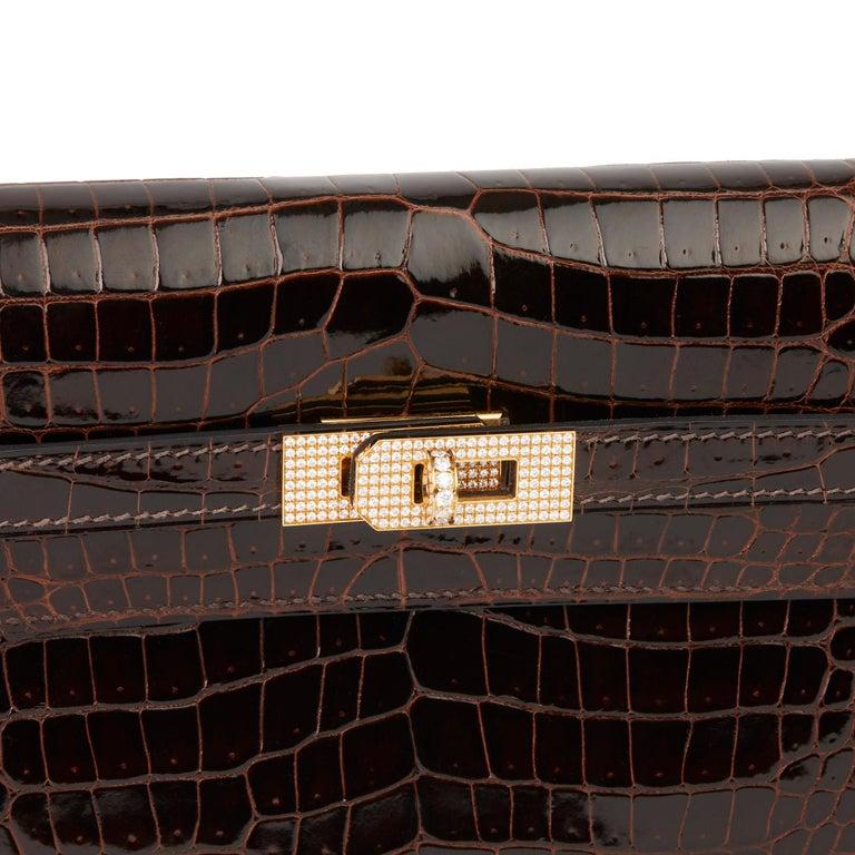 2007 Hermès Cocaon Shiny Porosus Crocodile Leather Diamond Kelly Long Wallet For Sale 2